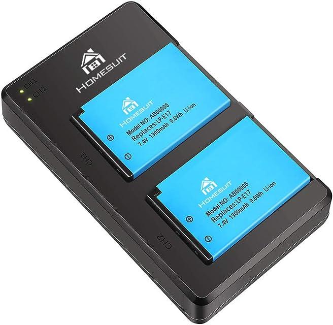 Homesuit 2 Pack LP-E17 Batería Mejorada y Cargador Doble Micro USB rápido para Canon Rebel SL2 T6i T6s T7i EOS M3 M5 M6 EOS 200D 77D 750D 760D 800D 8000D Kiss X8i y más