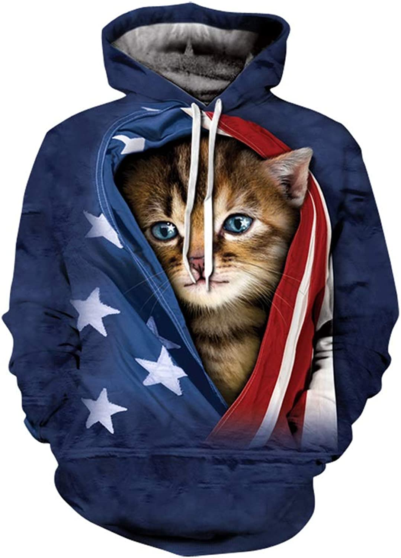 Men's Hoodies, Cats Hoodie, blueee Cats Prints, Cat Sweatshirt, Cats 3D Hoodie, Cats 3D Hoodies, 3D Sweatshirt, 3D Sweatshirts (color   A, Size   XL)