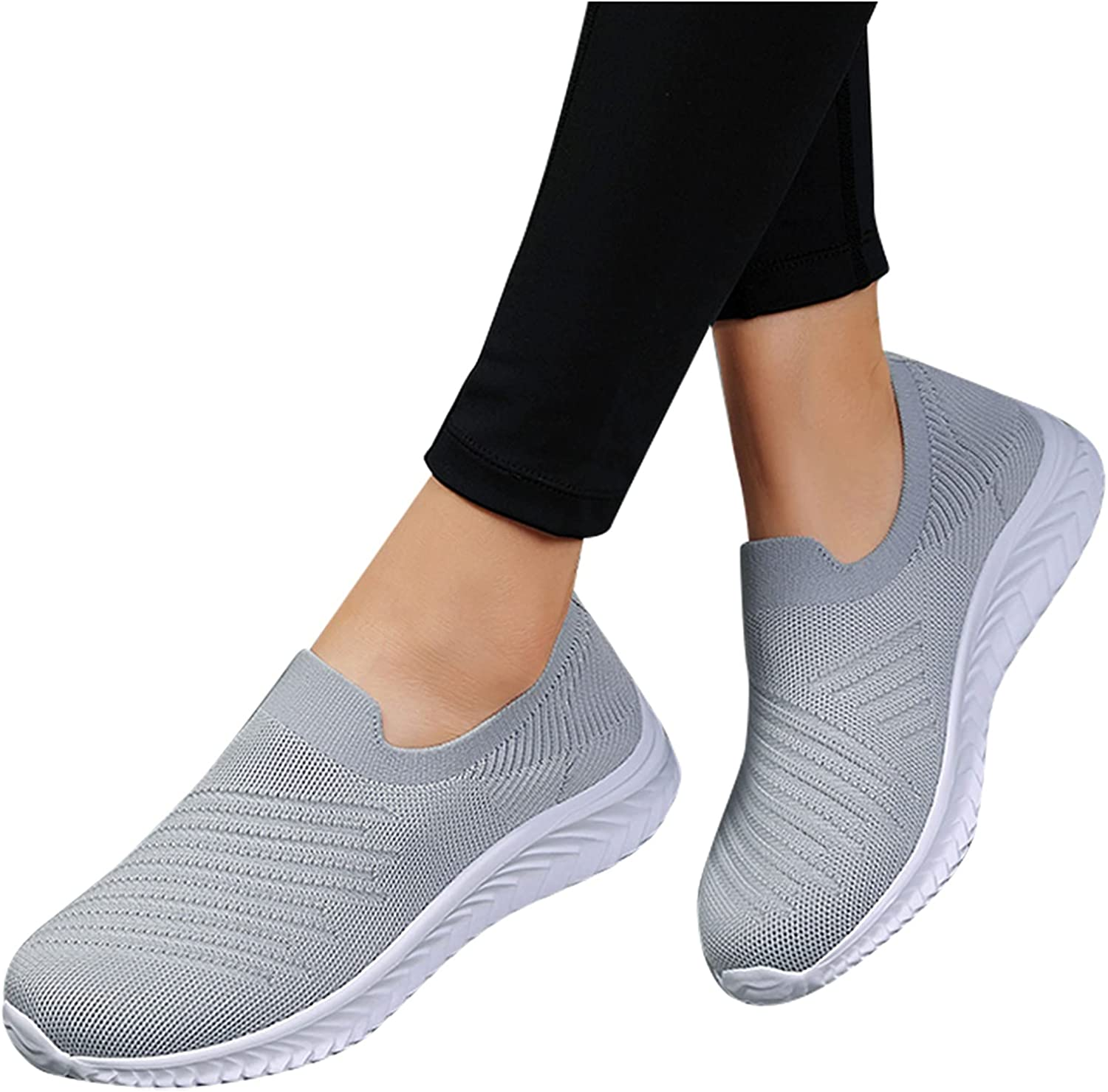 Hbeylia Walking Running Outdoor Sport Shoes For Women Men Couples Lightweigt Breathable Slip On Sneakers Comfortable Stretch Jogger Tennis Hiking Athletic Shoes Work Nurse Shoes