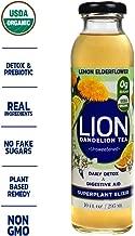 LION Organic Bottled Dandelion Tea | Prebiotic Tea Full of Antioxidants | Lemon Elderflower | 12 Pack