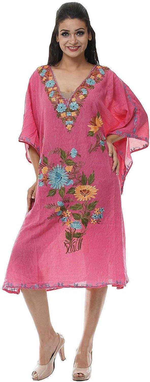Odishabazaar Short Kashmiri Kaftan Womens Beachwear Cover up Swimsuit Swimwear Dress Caftan