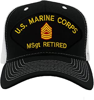 PATCHTOWN USMC Master Sergeant Retired Hat/Ballcap (Black) Adjustable One Size Fits Most