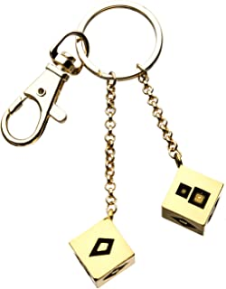 Unisex Adult Base Metal 3D Golden Dice Key Chain, Gold, One Size