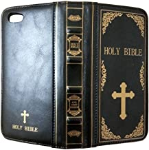 """iPhone X 8 7 6 6S Folio Flip Case iPhone Plus Portable Protective Case PU Leather Holy Bible Book Wallet Case Cover with Card Slots Holders for Apple 6/6S 4.7"""" Black Black 4326761256"""