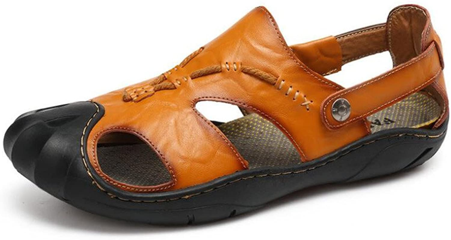 186d77ef615bd Mens Leather Sandals Closed Fashion Sweat-Absorbent Breathable ...