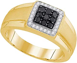 Mens Black Diamond Square Frame Ring Solid 10k Yellow Gold Round Cluster Fashion Band Polished 3/8 ctw