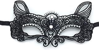 YAZILIND Encaje Rhinestone Elf Halloween Masquerade Disfraces Fiesta máscara Mardi Gras Noche Prom Fiesta máscaras (Plata)