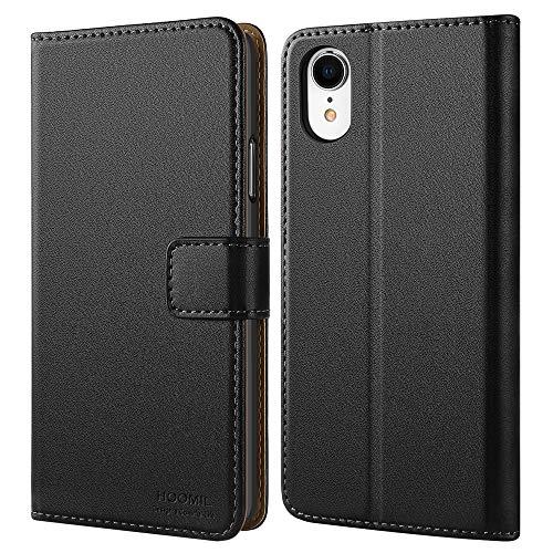 HOOMIL Handyhülle für iPhone XR Hülle, [Kabelloses Laden] Premium Leder Flip Case Cover Schutzhülle für Apple iPhone XR Tasche, Schwarz