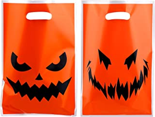 Aneco 72 Pieces Large Halloween Pumpkin Face Bags Trick or Treat Bags Halloween Plastic Goodie Bags for Halloween Party, D...