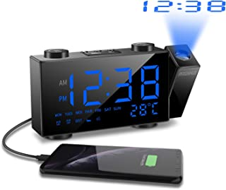 ORSERA Sveglia a proiezione,Radio sveglia FM,Display a LED da 6con dimmer,Proiettore a Rotazione 180 /°,Doppio Allarme,con porta di ricarica USB,12//24 ore,Temperatura e umidit/à,cucina,camera da letto