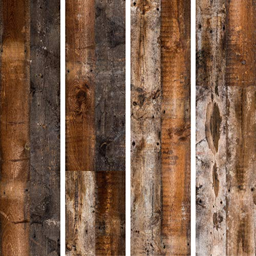 murando - PURO TAPETE selbstklebend 10m Wandtattoo dekorative Möbelfolie Dekorfolie Fotofolie Panel Wandaufkleber Wandposter Wandsticker – Holzoptik Bretter braun f-C-0370-j-a
