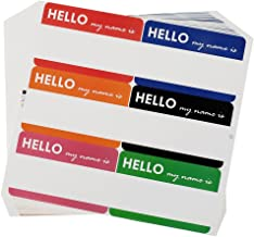 Cualfec 210 Pcs Hello My Name is Stickers Colorful Name Badge Stickers 3.5 x 2.25 inches - 6 Color per Sheet (35 Sheets)