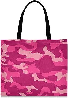 DOSHINE Tragetasche aus Segeltuch, Camouflage-Muster, wiederverwendbar, Einkaufstasche, Schulranzen, Handtasche für Damen, Mädchen
