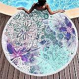 Toalla de playa con diseño de mandala, redonda, grande, microfibra, toalla de playa, alfombra para yoga, picnic, playa, color azul, 150 cm