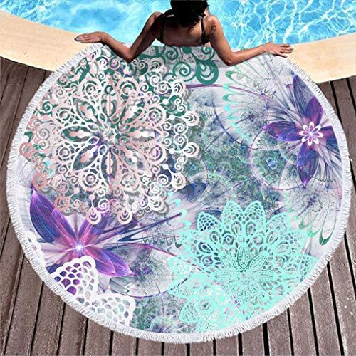 Mandala - Toalla de playa redonda grande, microfibra, toalla de playa, toalla de playa, alfombra de pared, esterilla de yoga, picnic, manta de playa 150 cm azul