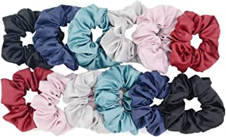 Chloven 12 Pack Hair Scrunchies Large Women's Satin Solid Color Hair Scrunchies Hair Bow Assorted Hair Accessories Ponytail Holder