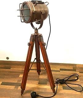 Lámpara de suelo náutico con trípode de madera, hecho a mano, foco decorativo para dormitorio E27, lámpara de luz