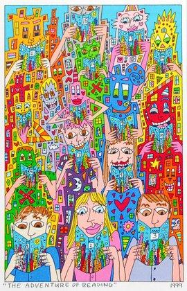 James Rizzi The Adventure of Reading 2D Poster Kunstdruck Farblitohgraphie