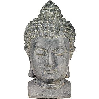 """Universal Lighting and Decor Meditating Buddha Head Asian Zen Outdoor Statue 18 1/2"""" High Bust Sculpture for Yard Garden Patio Deck Home - John Timberland"""