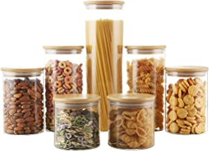 MCIRCO Kitchen Canisters Set, 7Pcs Airtight Glass Jars with Bamboo Lids, Glass food Storage Containers for Kitchen & Pantry Organization, Cookie, Coffee, Pasta, Nuts and Spice Jars, Stackable