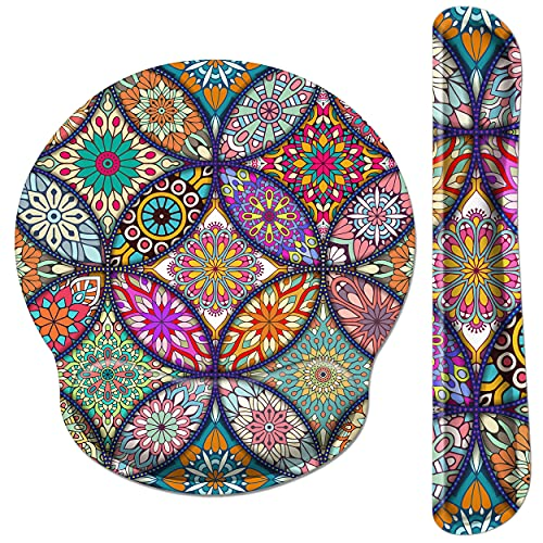 Pemlari [30% Larger] Ergonomic Mouse Pad Wrist Support and Keyboard Wrist Rest Set with Non-Slip Rubber Base, Easy-Typing and Pain Relief, for Gaming Office Home Computer Laptop, Mandala