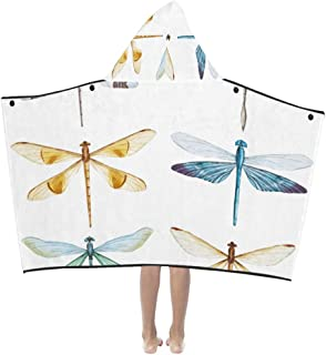 Yngxil Painted Dragonfly Flying Insect Soft Warm Cotton Blended Kids Dress Up Hooded Wearable Blanket Bath Towels Throw Wrap for Toddlers Child Girls Boys Size Home Travel Picnic Sleep Gifts Beach