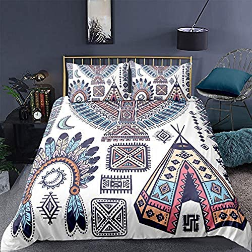 Fifase Duvet Cover Set 3 Pieces Bohemian Retro Sun Moon Tent Pattern(200 X 200 Cm) Printed Bedding Quilt Cover With Zipper Closure For Bedding Decro, Ultra Soft Polyester Fiber+Two Pillowcases 50*75C