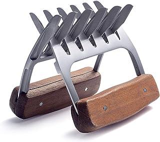 肉の爪、木製ハンドル付き18/8ステンレス鋼肉フォーク、シュレッディング用メタルクマの爪は、引っ張る、手渡し、豚肉をリフティング&サービング、トルコ、チキン、ブリスケット,2pcs