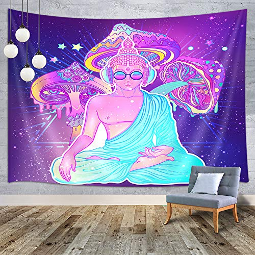 MERCHR Psychedelic Mushroom Tapestry, Funny Trippy Zen Buddha Tapestry Yoga Meditation Tapestries, Magical Bohemian Tapestry Wall Hanging for Bedroom Living Room College Dorm Home Decor 60X40 Inches