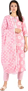 Stylum Women's Cotton Checks Print Straight Kurta Pant and Dupatta Set (Pink)