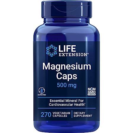 Life Extension Magnesium Caps 500mg, 270 Veg Capsules - Broad Spectrum - 3 Mags in 1 Supplement: Oxide, Citrate, Succinate - Vegetarian