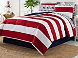 Dovedote 8 Piece Bed in Bag Rugby Comforter Cotton Sheet Set (King)
