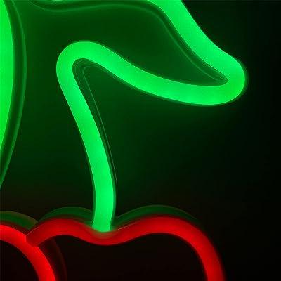 ENUOLI Kirschlicht-Neonschilder, Obst-Neonlichter für Wanddekoration, LED-Schilder für Schlafzimmer, USB- oder Batterie-LED-Lichter für Weihnachten, Geburtstag, Hochzeit, Party, Kinderzimmer, Neujahr, Heimdekoration (Kirsche)