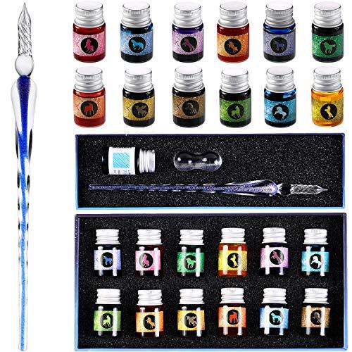 15 Stücke Glas Ink Dip Stift Set Regenbogen Kristall Stift Glas Tauchen Stifte mit 12 Flaschen Bunte Inks für Geschenkkarten Schreiben Unterschriften Kalligraphie