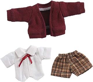 オビツ11 OB11 サイズ衣装 オビツドール 11cmボディ用 制服セット シャツ コート 半ズボン レッド 3点セット