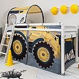 Cama tipo litera con diseño de excavadora, túnel y tobogán.