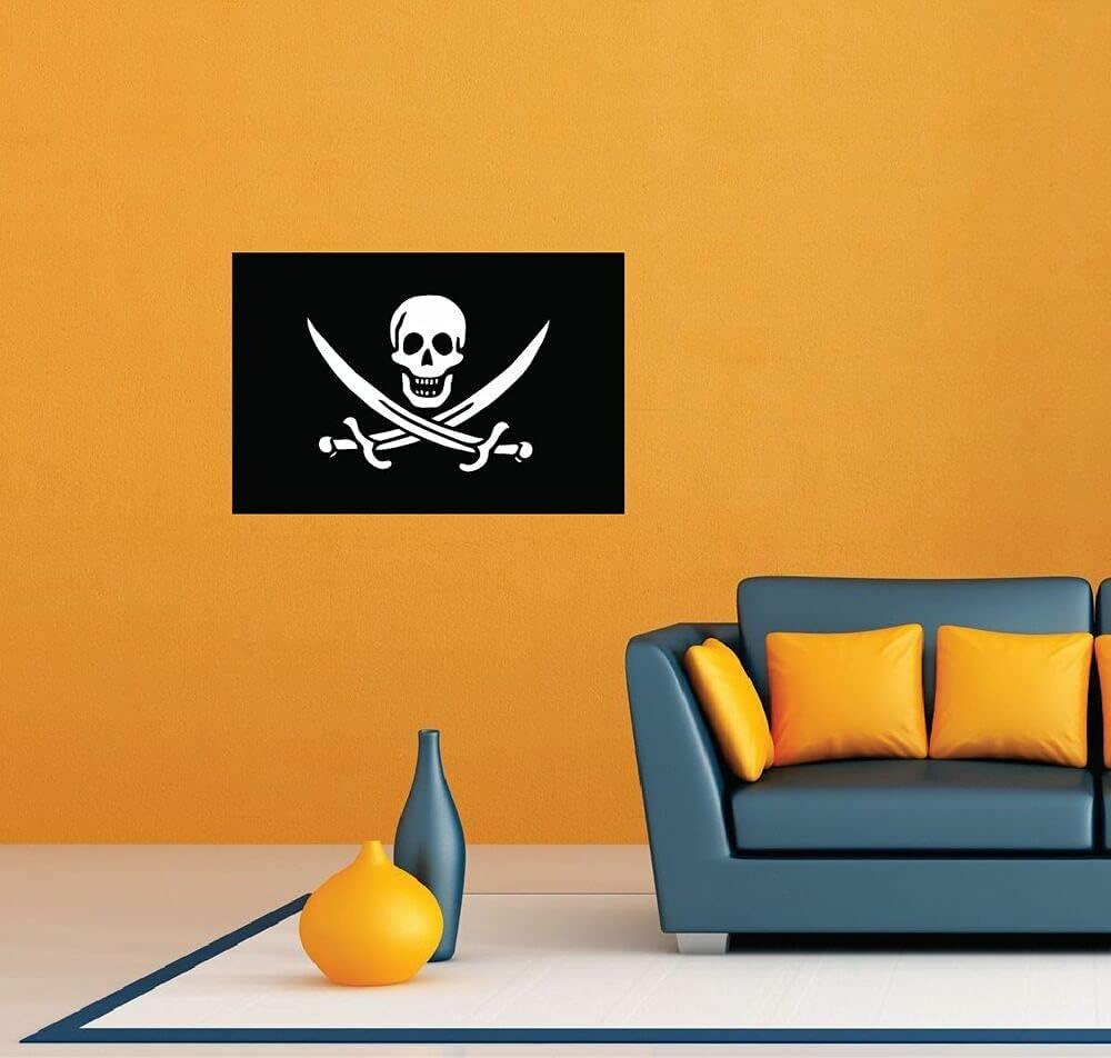 Jolly Roger Pirate Philadelphia Mall Skull Bones Flag Stick Garage Industry No. 1 Wall Decor Room