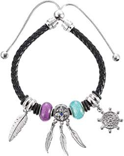 ZOBDX Genuine Leather Braided Bracelet Dream Catcher Jewelry with Teal and Purple Glass Beads and Stainless Steel Feather Accessories Tribal Bracelet