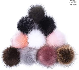 10Pcs Faux Fox Fur Fluffy Pom Pom Balls with Elastic Loop, AUHOKY Soft Faux Fur DIY Pompom Ball, Removable Hats Shoes Scarves Bags Keychains Accessories Gift for Women Girls (10 Colors)
