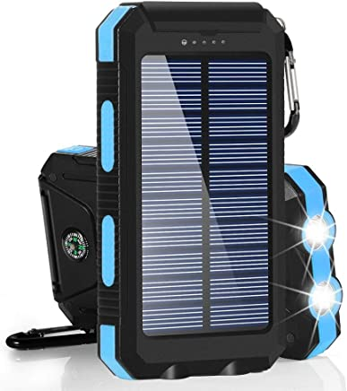 Solar Chargers 30,000mAh, LMS Portable Dual USB Solar Battery Charger External Battery Pack Phone Charger Power Bank with Flashlight for Smartphones Tablet Camera (Baby Blue)
