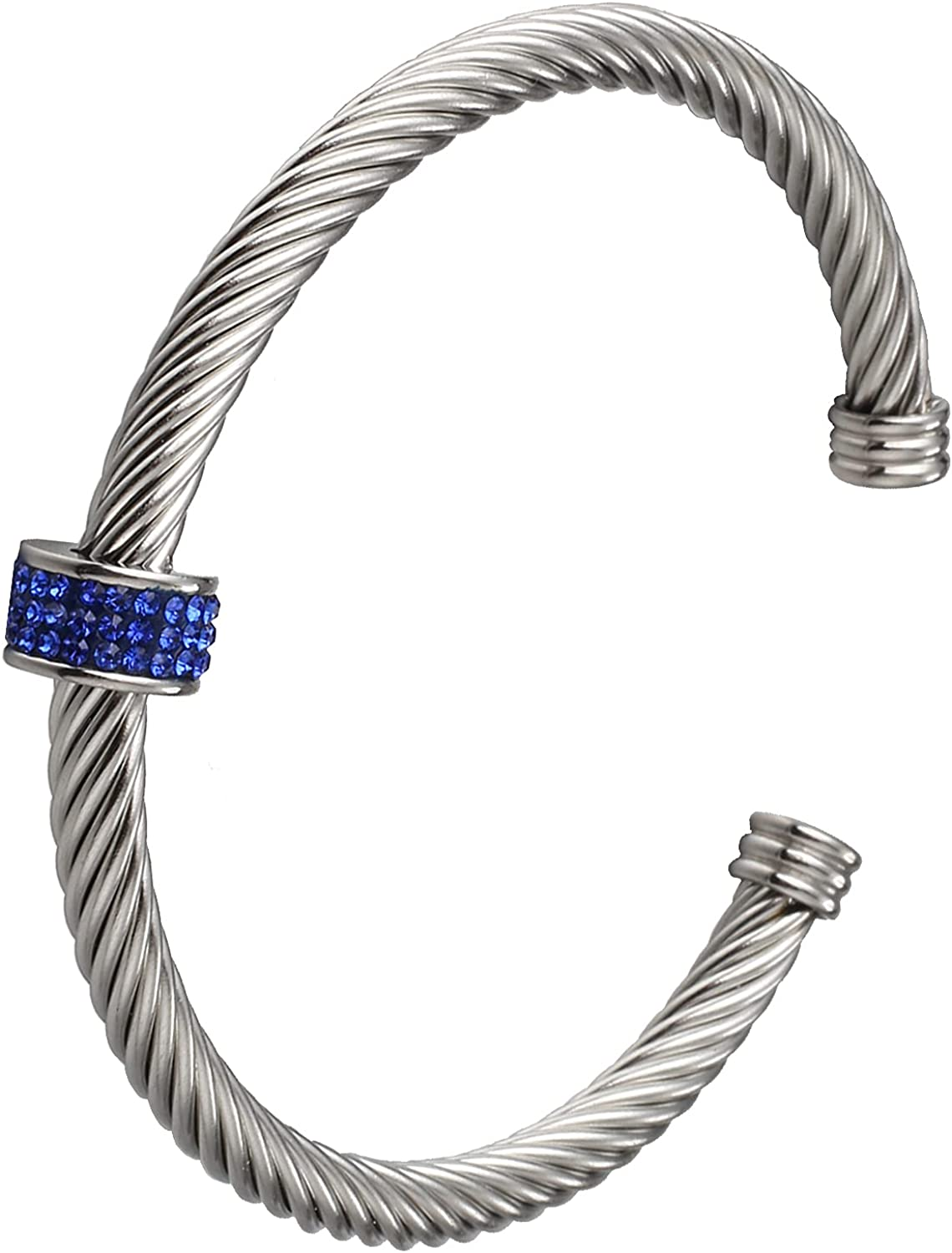 Cable Cuff Bracelets, Dorriss Stainless Steel Twisted Wire Composite Bracelet Bangles, Adjustable Elegant Antique Jewelry with Rhinestone for Women, Ladies, Girls, Teens, Gift Idea