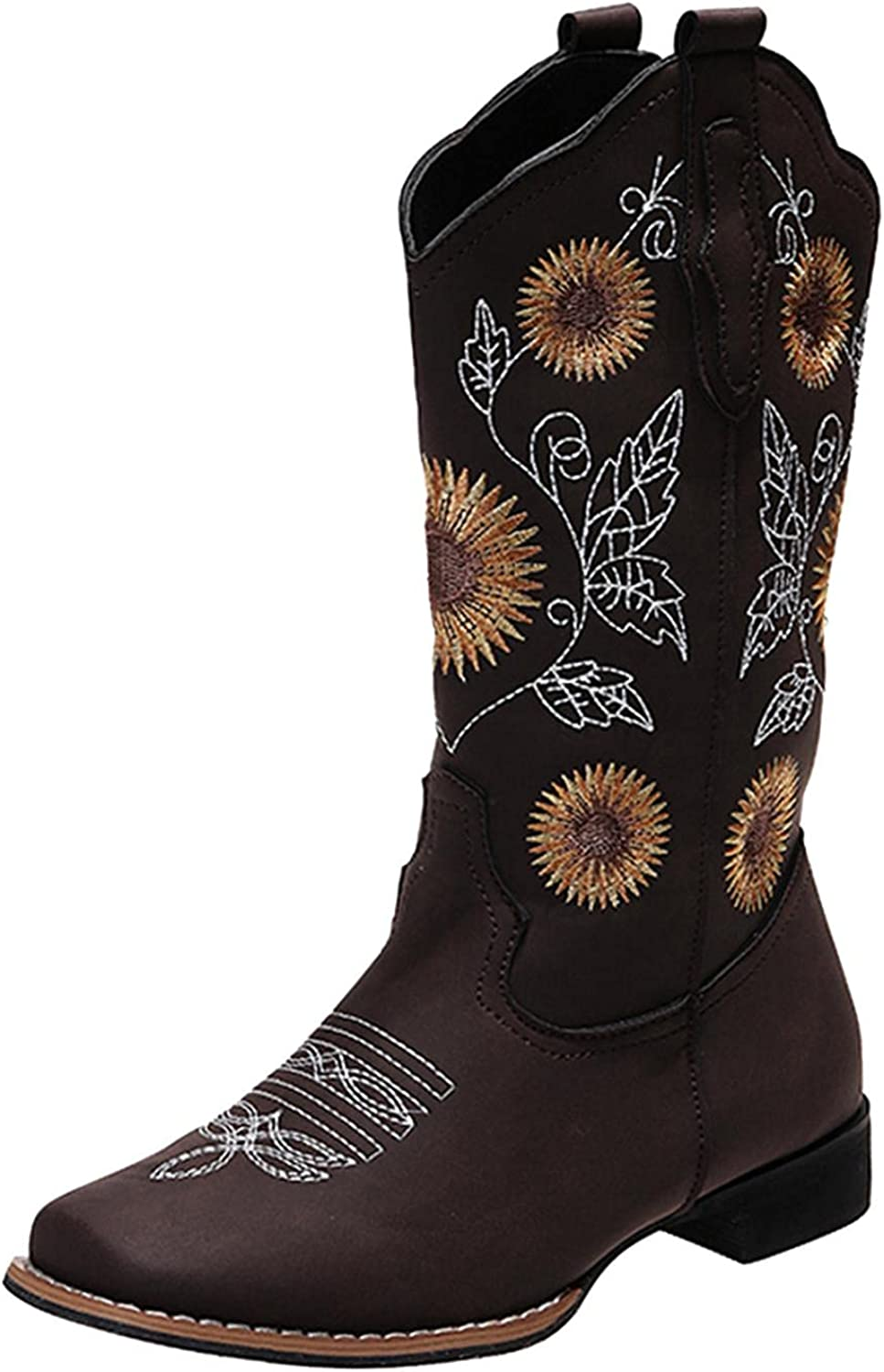 Masbird Cowboy Boots for Womens Low Heel Western Boot Embroidery Zip Pointed Toe Chunky Stacked Mid Calf Booties