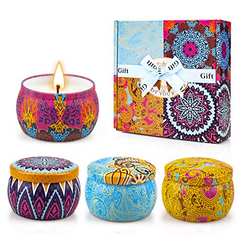 Scented Candles Gift Set Aromatic Candle, Aromatherapy Candles 4 Tins, 4.4oz, 120 Lasting Hours, Soy Wax with Greeting Card, for Valentine's Day, Classic Pattern