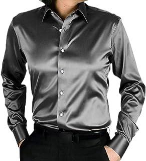 Tootess メンズスリムカジュアル模倣シルク明るい色ウエスタンシャツ