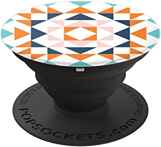 Geometric Shape Barn Quilt Block Design Orange Blue Pink - PopSockets Grip and Stand for Phones and Tablets