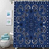 Guftay Paisley Shower Curtain, Blue Bandana Shower Curtain, Waterproof Fabric for Bathroom Decor Shower Curtains Set with Hooks, 72' X 72'