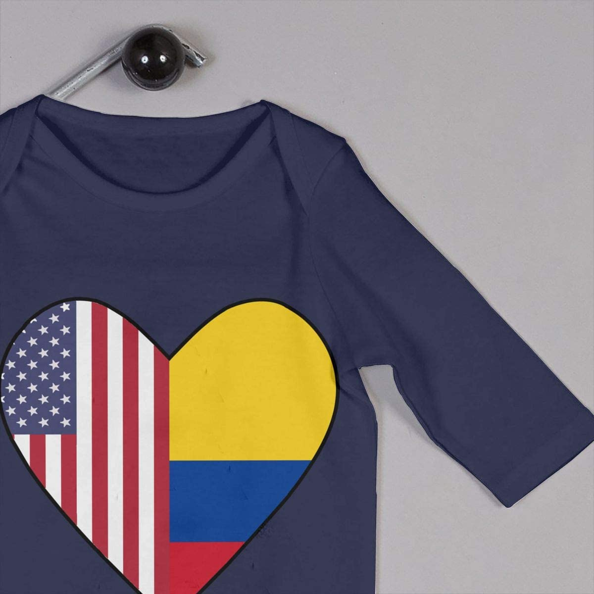 Half Colombia Flag Half USA Flag Love Heart Toddler Baby Girl Boy Romper Jumpsuit Long Sleeved Bodysuit Tops Clothes