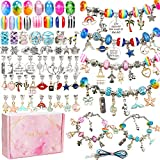 130 Pieces Charm Bracelet Making Kit Including Jewelry Beads Snake Chain DIY Craft Jewelry Gift Set for Kids Girls Teens