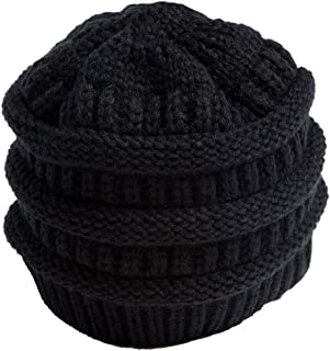 Ponytail Hats Winter Warm Hat Ponytail Beanie Hat Warm Knit Messy Stretch Cable Knit Hat Cap