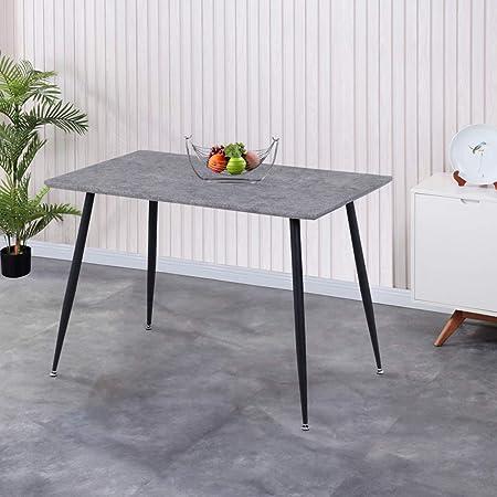 GOLDFAN Table de Salle à Manger en Bois Table Design Cuisine Salon Rectangle Plateau MDF avec Pieds Enduits 113cm Gris